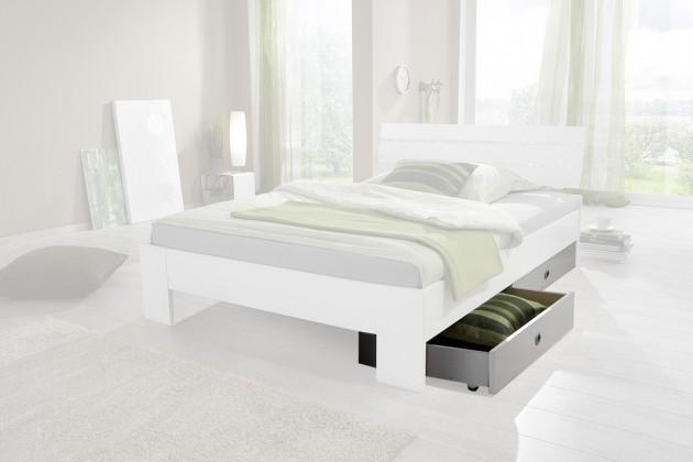 Klasická posteľ Nightlight Úložný priestor k posteli (biela,krištáľové kamienky)