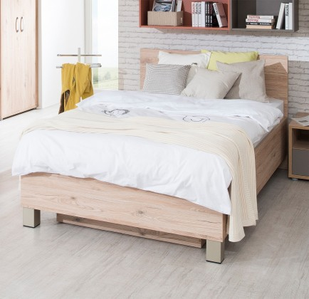 Klasická posteľ Sand - Posteľ 90x200 cm, typ 81, s úložným priestorom (dub)