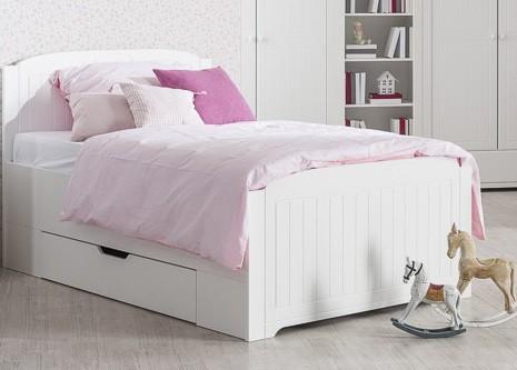 Klasická posteľ Santorini - Posteľ 90x200 cm, úložný priestor (biela arctic)