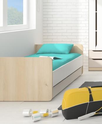 Klasická posteľ Smart - Posteľ 90x200cm (buk ibsen, biela, champagne)