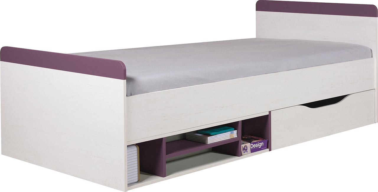 Klasická posteľ Stone - Posteľ ST14 P/L (biela, fialová)