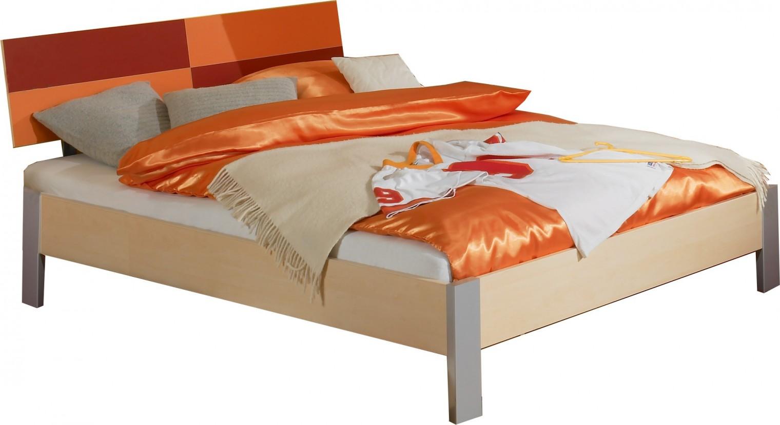 Klasická posteľ Sunny - Posteľ, 140x200 cm (červenooranžová)