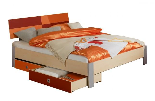 Klasická posteľ Sunny - Posteľ, 140x200, s úložným priestorom (červenooranžová)