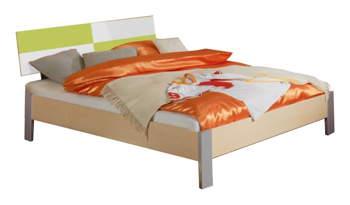 Klasická posteľ Sunny - Posteľ, 140x200 (zelené jablko/alpská biela)