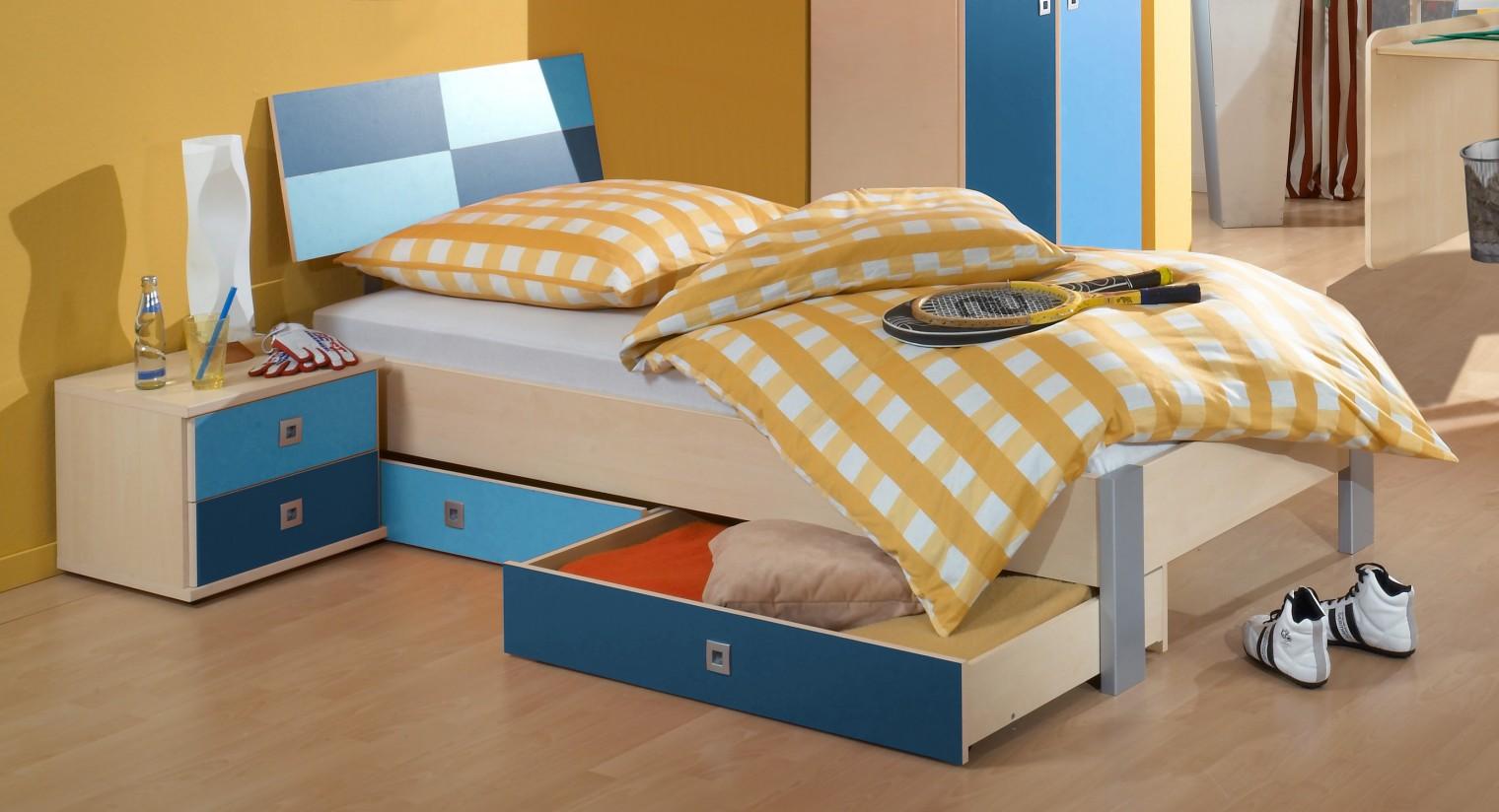 Klasická posteľ Sunny - Posteľ, 90x200, s úložným priestorom (námornícka modrá)
