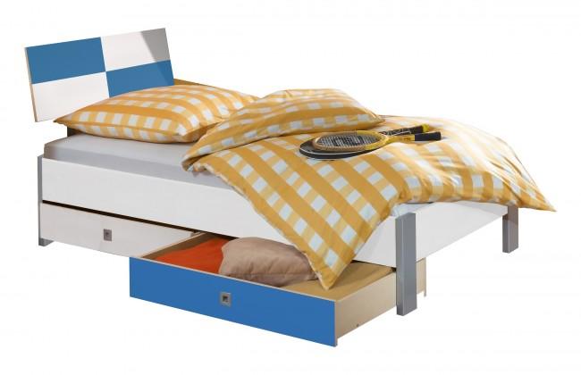 Klasická posteľ Sunny - Posteľ s úložným priestorom, 90x200cm (bílá s modrou)