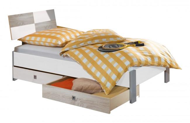 Klasická posteľ Sunny Posteľ s úložným priestorom, 90x200cm (dub, alpská biela)