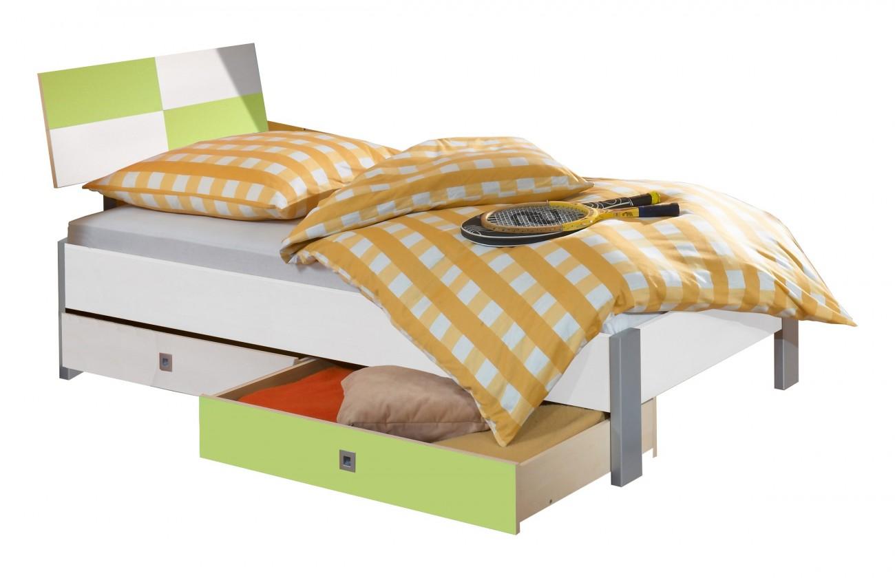 Klasická posteľ Sunny Posteľ, úložný priestor, 90x200 (biela so zeleným jablkom)