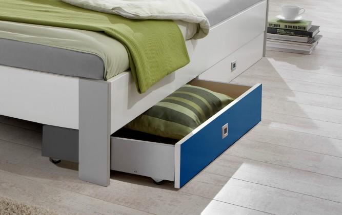 Klasická posteľ Sunny - Úložný priestor (alpská biela s modrou)