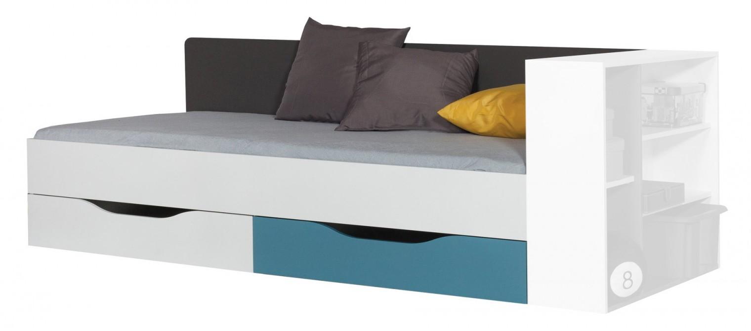 Klasická posteľ Tablo-posteľ 90x200 cm, rošt (grafit/biela,lesk/atlantic)
