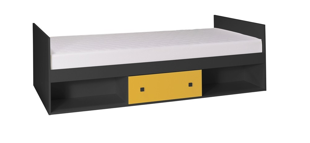 Klasická posteľ Tommy 20 - Posteľ, s matracom (sivá/žltá)