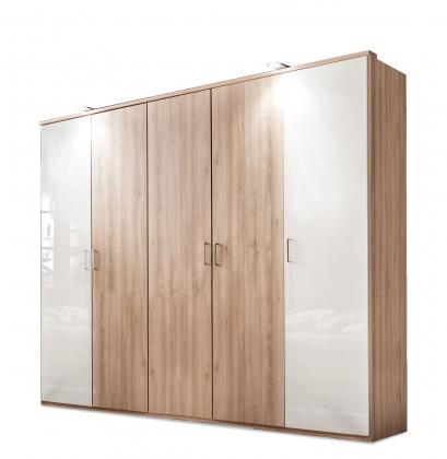 Klasická Rio - šatníková skriňa, 4x dvere (buk/biely lesk)