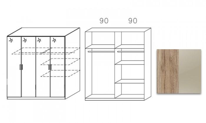 Klasická šatníková skriňa Celle, 4x dvere