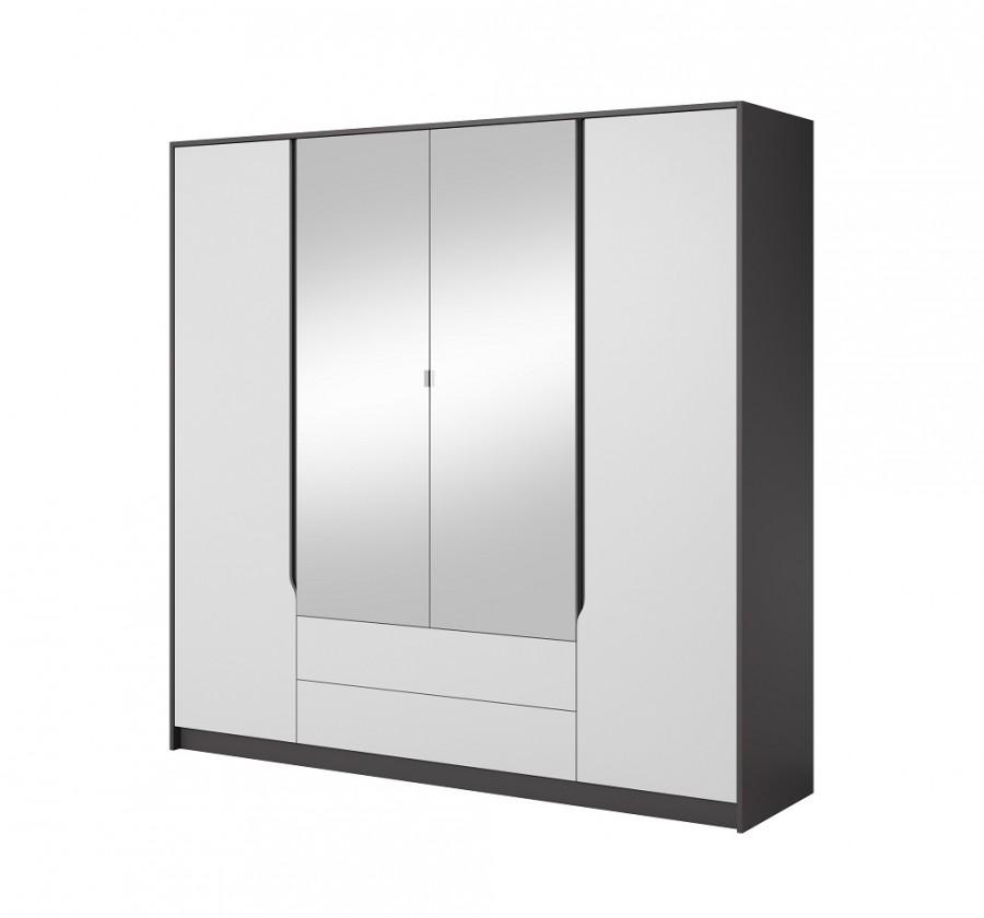 Klasická Šatníková skriňa Klaudia - 200x202x57 cm (grafit/biela)