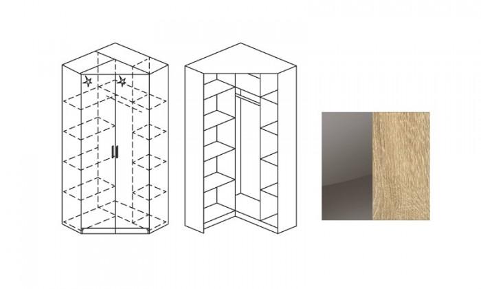 Klasická šatníková skriňa rohová Celle, 2x dvere