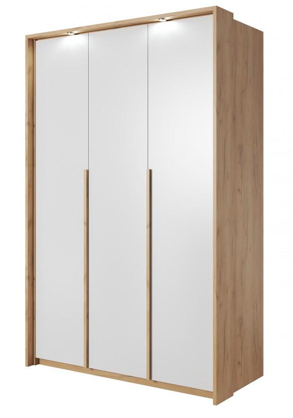 Klasická Šatníková skriňa Xelo 141 cm (dub zlatý/biela)
