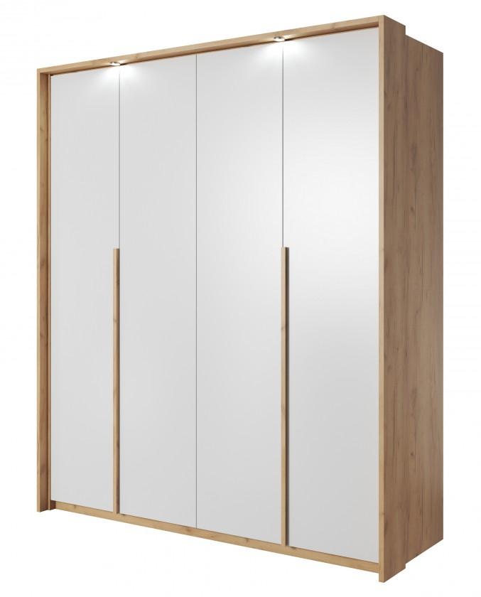 Klasická Šatníková skriňa Xelo 185 cm (dub zlatý/biela)