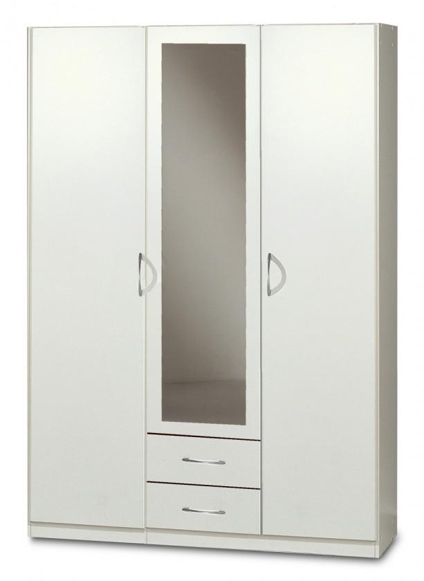 Klasická Sprint - skriňa 135 cm,3x dvere,1x zrkadlo (alpská biela)