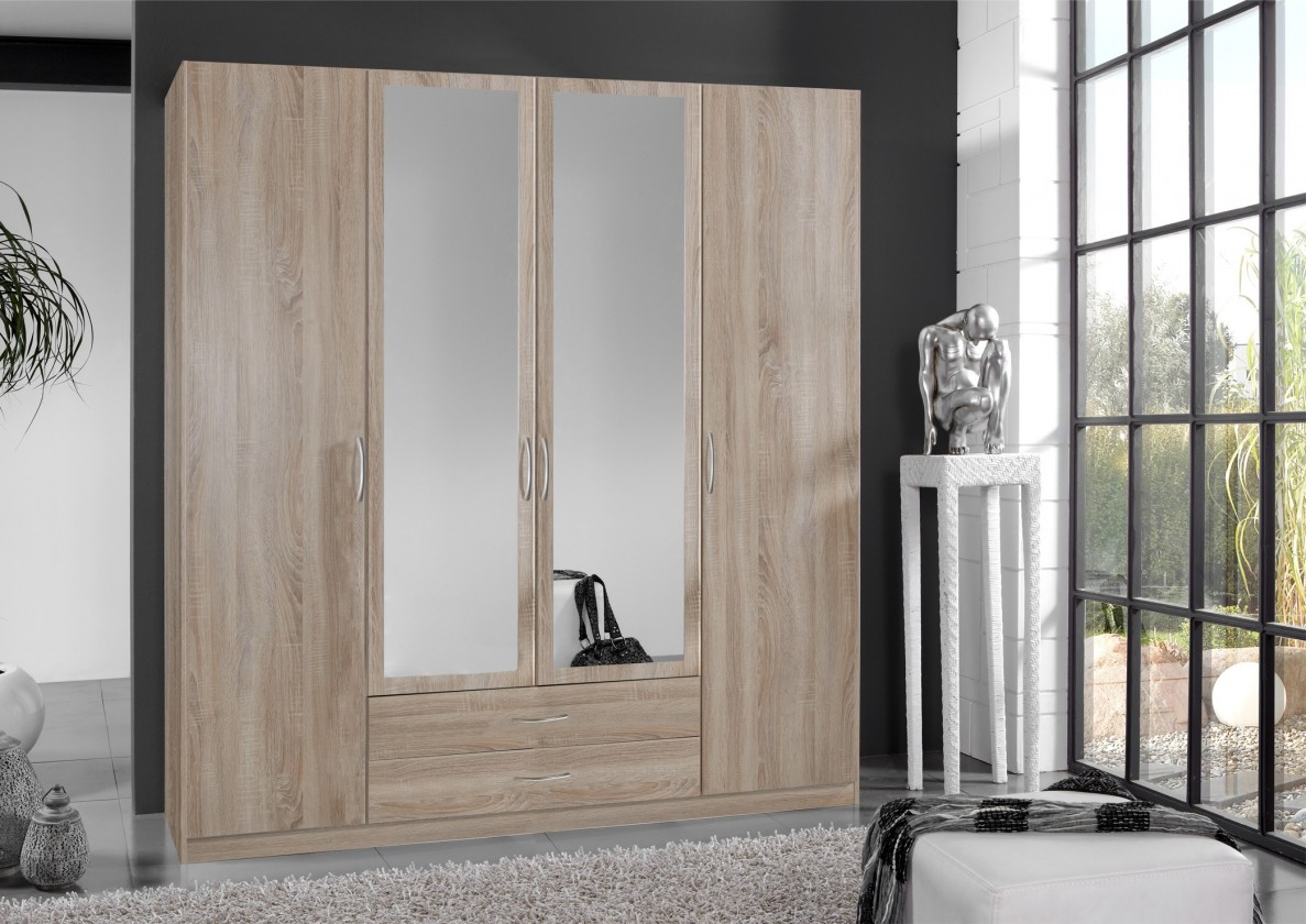 Klasická Sprint - skriňa 180 cm,4x dvere,2x zrkadlo (dub hrubá štruktúra)