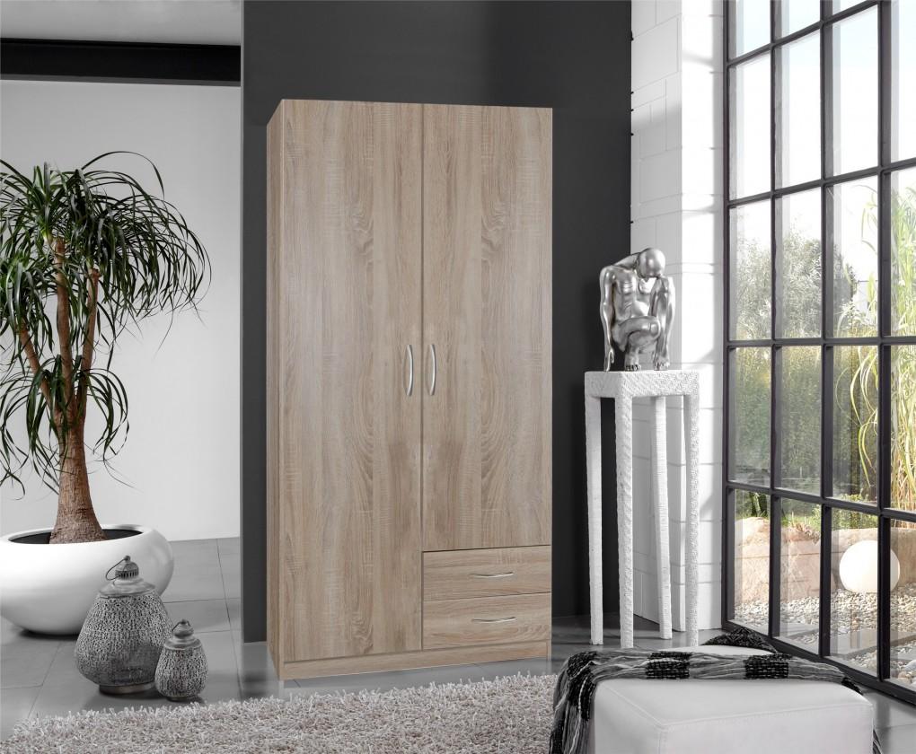 Klasická Sprint - skriňa 90 cm,2x dvere,3x police (dub hrubá štruktúra)