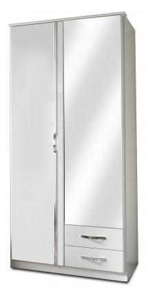 Klasická Trio - Skriňa, 2x dveře, 1x tyč (perleťová biela/alpská biela)