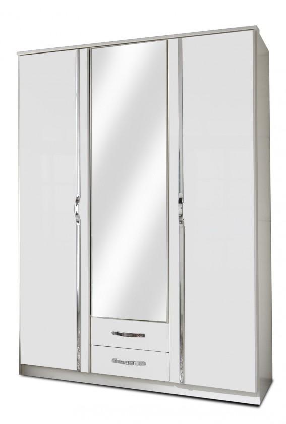 Klasická Trio - Skriňa, 3x dveře, 1x tyč (perleťová biela/alpská biela)
