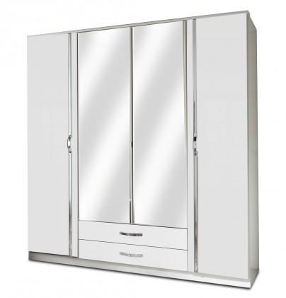 Klasická Trio - Skriňa, 4x dveře, 2x tyč (perleťová biela/alpská biela)