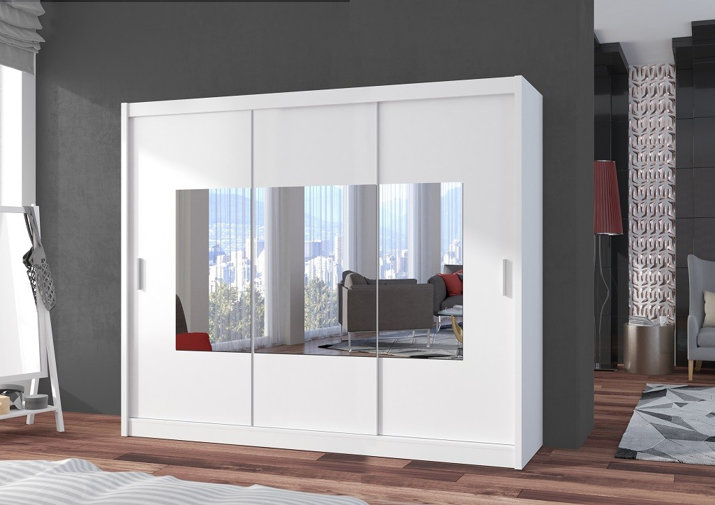 Klasické skrine Šatníková skriňa Eira - 250x215x61 (biela)