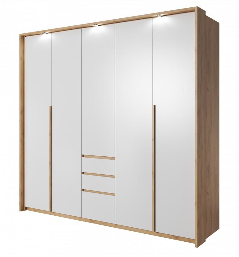 Klasické skrine Šatníková skriňa Xelo 230 cm (dub zlatý/biela)