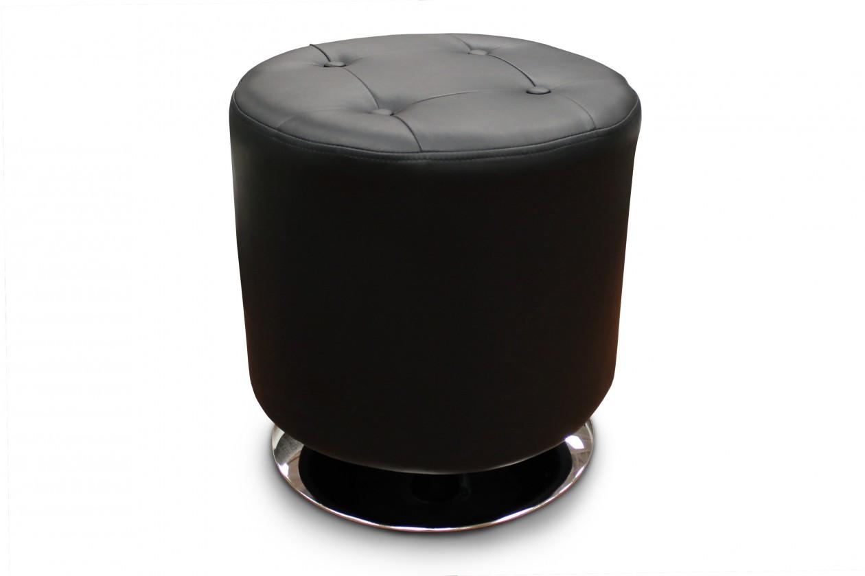 Klasické taburetky Kožená taburetka Dora kruh čierna
