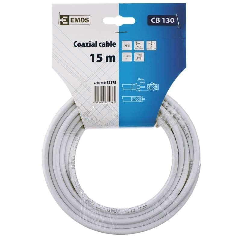 Koaxiální kabely, konektory Emos kábel koaxiálny CB130, 15m S5375