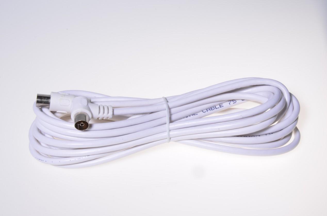 Koaxiální kabely, konektory  Kabel C-TECH k TV, M/F konektor 90, 75 Ohm 5m,zahnutý konektor