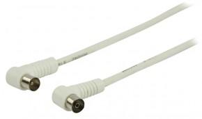 Koaxiálny kábel koncovka uhlová 1,5m, biely