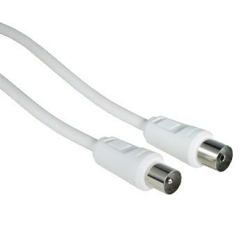 Koaxiálny kábel, konektor Anténny kábel Hama 42966, 75 dB, biely, 15 m