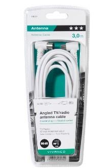 Koaxiálny kábel, konektor Koaxiálny kábel Vivanco 43034, uhlový, 3m
