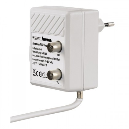 Koaxiálny kábel, konektor Zásuvkový anténny rozbočovač so zosilňovačom Hama 122497