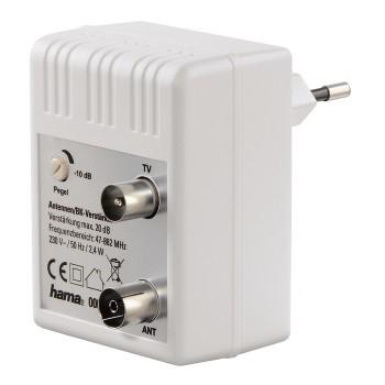 Koaxiálny kábel, konektor Zásuvkový anténny zosilňovač Hama 122498, regulovateľný