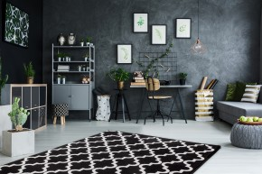 Koberec Black & white (80x150 cm, čierna)
