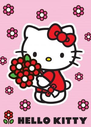 Koberec - Disney Hello Kitty - 18 Red Flower, 95x133 cm (ružová)