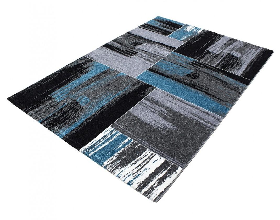 Koberec - Lima 1350, 120x170 cm (čierna, sivá, modrá)