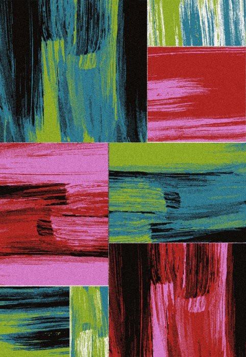 Koberec - Lima 1350, 80x300 cm (červená, zelená, ružová, čierna)