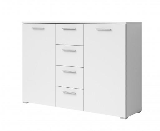Komoda Beta - Kombi komoda, 4x zásuvka, 2x dvere (biela / biela)