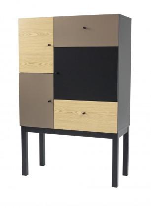 Komoda Color 1972-888(čierna/dub/sivá)