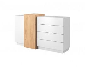 Komoda Duras (2x dvere, 4x zásuvka, lamino, biela/hnedá)