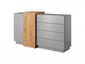 Komoda Duras (2x dvere, 4x zásuvka, lamino, sivá/hnedá)
