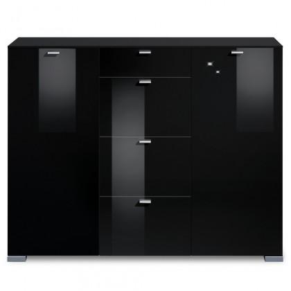 Komoda Gallery HG14 (čierna/čierny lak HG)