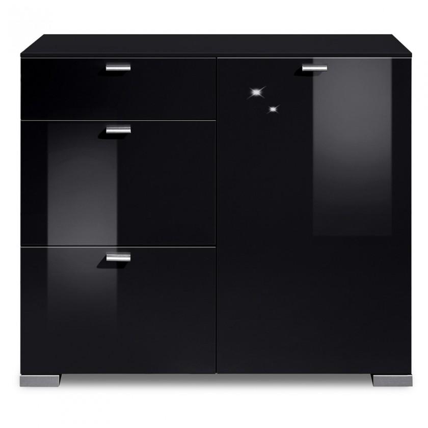 Komoda Gallery HG3 (čierna/čierny lak HG)