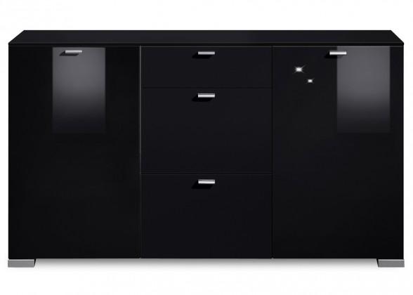 Komoda Gallery HG7 (čierna/čierny lak HG)