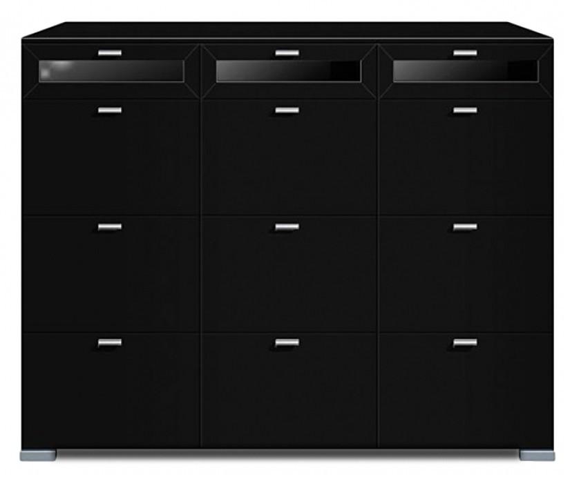 Komoda Gallery Plus 10 (černá/sklo čierne)
