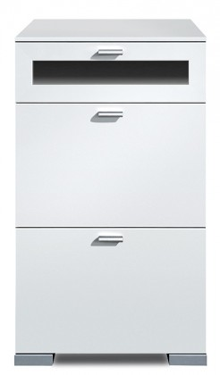 Komoda Gallery Plus 12 (biela/sklo čierne)
